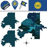 Χάρτης της Ατλάντας, GA με τις περιοχές Στοκ Εικόνα