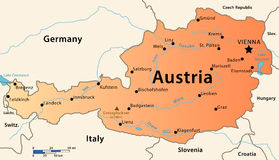Χάρτης της Αυστρίας Στοκ εικόνα με δικαίωμα ελεύθερης χρήσης