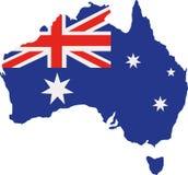 Χάρτης της Αυστραλίας με τη σημαία διανυσματική απεικόνιση