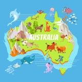 Χάρτης της Αυστραλίας κινούμενων σχεδίων με τα ζώα Στοκ Φωτογραφία