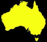 Χάρτης της Αυστραλίας μαύρος και κίτρινος Στοκ Εικόνες