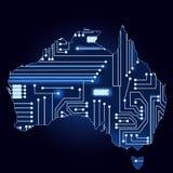 Χάρτης της Αυστραλίας με το ηλεκτρονικό κύκλωμα διανυσματική απεικόνιση
