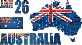 Χάρτης της Αυστραλίας σε έναν τουβλότοιχο διανυσματική απεικόνιση