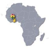 Χάρτης της Αφρικής με τη Γκάνα Στοκ Φωτογραφία