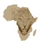 Χάρτης της Αφρικής με τη συρμένη λεοπάρδαλη Στοκ Εικόνα