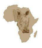 Χάρτης της Αφρικής με το συρμένο ρινόκερο Στοκ Φωτογραφίες