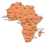 Χάρτης της Αφρικής με όλες τις χώρες Στοκ εικόνες με δικαίωμα ελεύθερης χρήσης