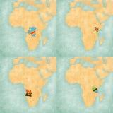 Χάρτης της Αφρικής - ο ΔΡ Κονγκό, Κένυα, Ανγκόλα και Τανζανία Στοκ Φωτογραφία