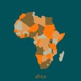 χάρτης της Αφρικής πολιτι&ka διάνυσμα Στοκ Εικόνες