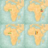 Χάρτης της Αφρικής - της Νιγηρίας, της Αιθιοπίας, του Νίγηρα και του Chad Στοκ Εικόνες