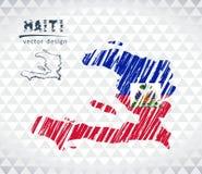 Χάρτης της Αϊτής με σχεδιαζόμενο το χέρι χάρτη μανδρών σκίτσων μέσα επίσης corel σύρετε το διάνυσμα απεικόνισης απεικόνιση αποθεμάτων