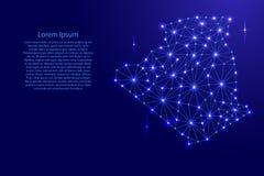 Χάρτης της Αλγερίας του polygonal δικτύου γραμμών μωσαϊκών, ακτίνες, διαστημικά αστέρια της απεικόνισης διανυσματική απεικόνιση