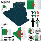 Χάρτης της Αλγερίας Στοκ Εικόνα
