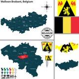 Χάρτης της βαλλωνικής Βραβάνδη, Βέλγιο Στοκ Εικόνα