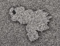 Χάρτης της Βενεζουέλας στους σπόρους παπαρουνών Στοκ φωτογραφίες με δικαίωμα ελεύθερης χρήσης