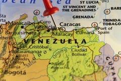Χάρτης της Βενεζουέλας, κόκκινη καρφίτσα στο Καράκας Στοκ εικόνα με δικαίωμα ελεύθερης χρήσης