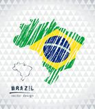 Χάρτης της Βραζιλίας με σχεδιαζόμενο το χέρι χάρτη μανδρών σκίτσων μέσα επίσης corel σύρετε το διάνυσμα απεικόνισης ελεύθερη απεικόνιση δικαιώματος