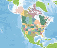 Χάρτης της Βόρειας Αμερικής με τις ΗΠΑ και τον Καναδά Στοκ Εικόνες