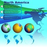 Χάρτης της Βόρειας Αμερικής στο μπλε διάνυσμα υποβάθρου Στοκ Εικόνες