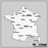 Χάρτης της Γαλλίας με τις μεγάλες πόλεις διάνυσμα Στοκ εικόνα με δικαίωμα ελεύθερης χρήσης