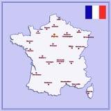 Χάρτης της Γαλλίας με τις μεγάλες πόλεις Στοκ φωτογραφία με δικαίωμα ελεύθερης χρήσης