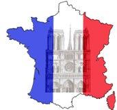 Χάρτης της Γαλλίας με τον καθεδρικό ναό και τη εθνική σημαία της Notre Dame απεικόνιση αποθεμάτων