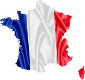χάρτης της Γαλλίας σημαιών απεικόνιση αποθεμάτων