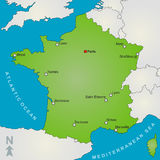 χάρτης της Γαλλίας Στοκ εικόνα με δικαίωμα ελεύθερης χρήσης