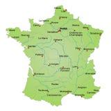 χάρτης της Γαλλίας Στοκ εικόνες με δικαίωμα ελεύθερης χρήσης