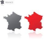 χάρτης της Γαλλίας Στοκ Φωτογραφία