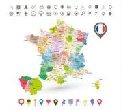 Χάρτης της Γαλλίας με τα εικονίδια σημαιών και ναυσιπλοΐας Στοκ φωτογραφία με δικαίωμα ελεύθερης χρήσης