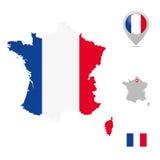 Χάρτης της Γαλλίας στα εθνικά χρώματα, τη σημαία και το δείκτη Στοκ Εικόνες
