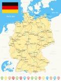 Χάρτης της Γερμανίας, σημαία, εικονίδια ναυσιπλοΐας, δρόμοι, ποταμοί - απεικόνιση Στοκ Εικόνα