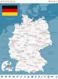 Χάρτης της Γερμανίας, σημαία, ετικέτες ναυσιπλοΐας, δρόμοι - απεικόνιση Στοκ Εικόνες