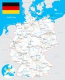 Χάρτης της Γερμανίας, σημαία, δρόμοι - απεικόνιση Στοκ Φωτογραφίες