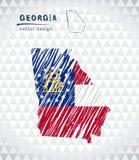 Χάρτης της Γεωργίας με σχεδιαζόμενο το χέρι χάρτη μανδρών σκίτσων μέσα επίσης corel σύρετε το διάνυσμα απεικόνισης Στοκ Φωτογραφία