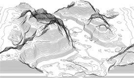 Χάρτης της γραμμής τοπογραφίας Διανυσματικές αφηρημένες τοπογραφικές έννοιες χαρτών με την προοπτική για το αντίγραφό σας Τουρισμ διανυσματική απεικόνιση