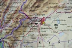 χάρτης της Δαμασκού στοκ φωτογραφία
