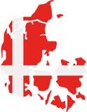 Χάρτης της Δανίας με τη σημαία απεικόνιση αποθεμάτων