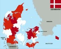 χάρτης της Δανίας πολιτικός ελεύθερη απεικόνιση δικαιώματος