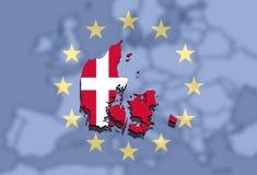 Χάρτης της Δανίας στην Ευρώπη και το ευρο- υπόβαθρο ένωσης Στοκ Εικόνες