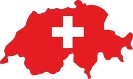 Χάρτης της Ελβετίας με τη σημαία ελεύθερη απεικόνιση δικαιώματος