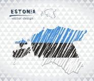 Χάρτης της Εσθονίας με σχεδιαζόμενο το χέρι χάρτη σκίτσων μέσα επίσης corel σύρετε το διάνυσμα απεικόνισης απεικόνιση αποθεμάτων