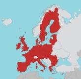 Χάρτης της Ευρωπαϊκής Ένωσης στο κόκκινο διανυσματική απεικόνιση