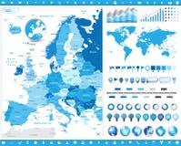 Χάρτης της Ευρώπης και infographic στοιχεία ελεύθερη απεικόνιση δικαιώματος