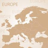 Χάρτης της Ευρώπης καφετής Διανυσματικός πολιτικός με το κράτος ελεύθερη απεικόνιση δικαιώματος