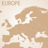 Χάρτης της Ευρώπης καφετής Διανυσματικός πολιτικός με το κράτος απεικόνιση αποθεμάτων