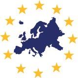 Χάρτης της Ευρώπης με τα ευρωπαϊκά αστέρια διανυσματική απεικόνιση