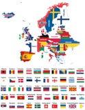 Χάρτης της Ευρώπης που αναμιγνύεται με τις εθνικές σημαίες χωρών Όλη η ευρωπαϊκή διανυσματική συλλογή σημαιών Στοκ Εικόνες