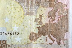 Χάρτης της Ευρώπης στην αντιστροφή ενός ευρο- τραπεζογραμματίου Στοκ Εικόνες